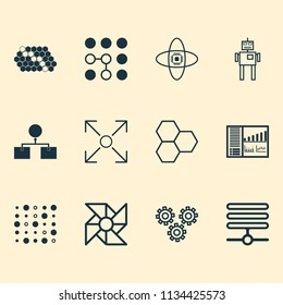 Machine icons set with control panel, data cells, data structure and other cyborg elements. Isolated vector illustration machine icons.