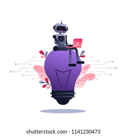 Machine learning algorithm concept with artificial neural network, deep learning. Robot with laptop sitting on big light bulb and flowers. Vector ultra violet concept illustration