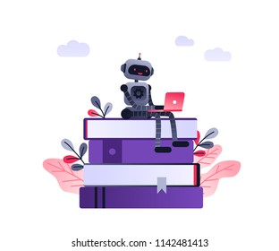 Machine learning algorithm concept with artificial neural network, deep learning. Robot with laptop sitting on stack of books and plants. Vector ultra violet landing page concept.