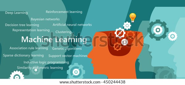 Machine Learning Algorithm Concept Related Subject Stock Vector