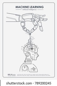 Machine learning and artificial intelligence (AI) concept. Robotic hand put digital big data, neural networks and printed circuit board (PCB) in robotic's brain. Vector outline design to poster.