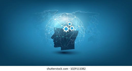 Machine Learning, Artificial Intelligence, Cloud Computing, Automated Support Assistance and Networks Design Concept with Wireframe Sphere and Human Head