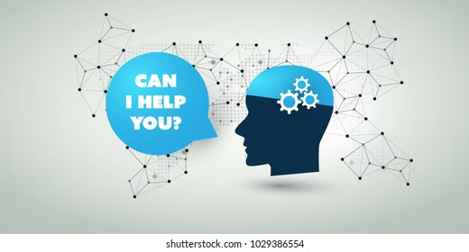 Machine Learning, Artificial Intelligence, Cloud Computing, Automated Support Assistance and Networks Design Concept with Wireframe, Speech Bubble and Human Head