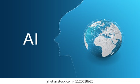 Machine Learning, Artificial Intelligence, Cloud Computing, Automated Support Assistance and Networks Design Concept with Earth Globe and Human Head
