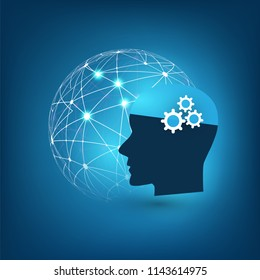 Machine Learning, Artificial Intelligence, Cloud Computing, Automated Support Assistance and Networks Design Concept with Globe and Human Head