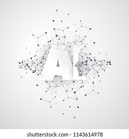 Machine Learning, Artificial Intelligence, Cloud Computing and Networks Design Concept with Geometric Network Mesh and AI Label