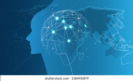 Machine Learning, Artificial Intelligence, Cloud Computing, Automated Support Assistance and Networks Design Concept with Wireframe Sphere and Human Face Silhouette