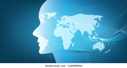 Machine Learning, Artificial Intelligence, Cloud Computing, Global Automated Support Assistance and Networks Design Concept with World Map, Wavy Pattern and Human Head