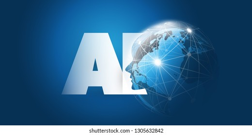 Machine Learning, Artificial Intelligence, Cloud Computing and Networks Design Concept with Earth Globe, Network Mesh and AI Label