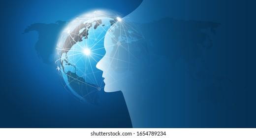 Aprendizaje automático, inteligencia artificial, computación en nube y diseño de redes Concepto con Earth Globe, Mesh en red y cabeza humana o robótica