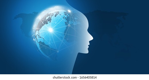 Machine Learning, Artificial Intelligence, Cloud Computing and Networks Design Concept with Earth Globe, Network Mesh and Human or Robot Head