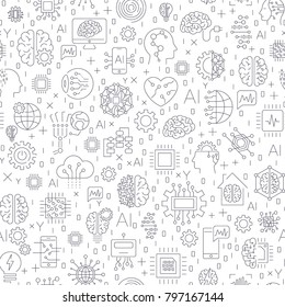 Machine learning and artificial intelligence concept. Robot and human graphic, gears,  chip, processor, brain and other. Seamless Pattern