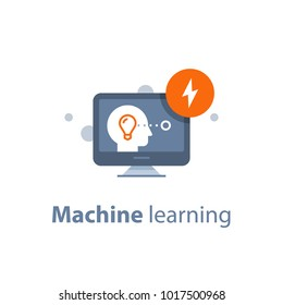 Machine learning, artificial intelligence, creative thinking, distance education, online learning, human head and desktop, vector illustration, flat icon