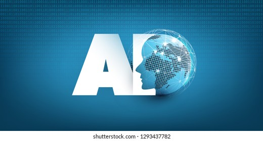 Machine Learning, Artificial Intelligence, Digital Aid, Cloud Computing and Networks Design Concept with Earth Globe, Network Mesh and AI Label