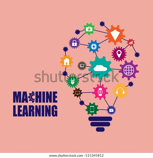 Machine Learning Artificial Intelligence Vector Illustration Stock