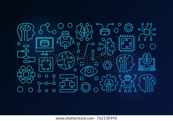 Machine Learning Artificial Intelligence Vector Blue Stock Vector