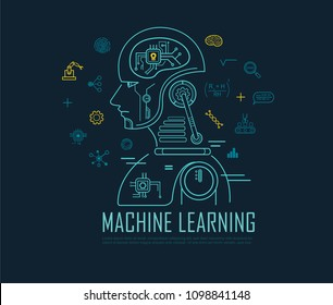 Machine learning banner, artificial intelligence, Machine learning and Deep learning flat line vector banner
