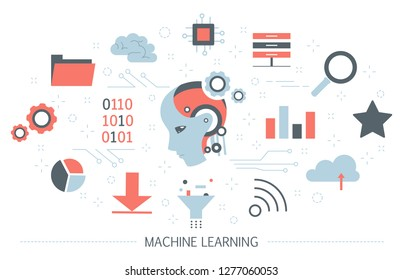 Machine learning concept. Artificial intelligence learning new algorithm and improve. Idea of futuristic technology and automation. Set of colorful icons. Isolated flat vector illustration