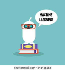 Machine learning concept. Cute cartoon robot wearing glasses and standing on a pile of books  / editable flat vector illustration, clip art