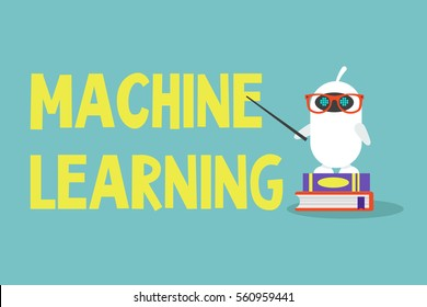 Machine learning concept. Cute cartoon robot standing on a pile of books and pointing on the sign / editable flat vector illustration, clip art