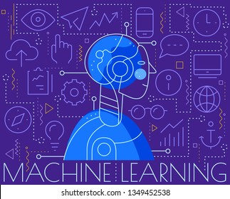 Machine learning concept. Trendy linear vector illustration