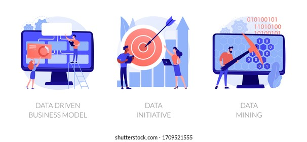 Machine learning and database systems. Computer science, code analysis. Data driven business model, data initiative, data mining metaphors. Vector isolated concept metaphor illustrations