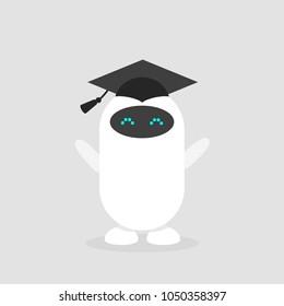 Machine learning. Graduated cute robot wearing a cap/ flat editable vector illustration, clip art