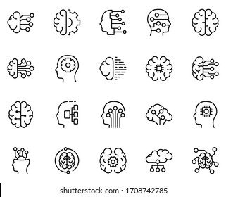 Machine learning icon set. Collection of high quality outline web pictograms in modern flat style. Black machine learning symbol for web design and mobile app on white background. Line logo EPS10