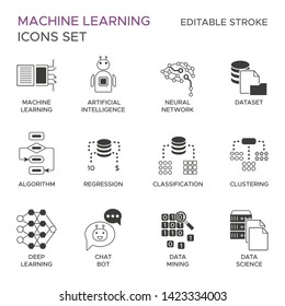 Machine learning icons set with fill and editable stroke vector