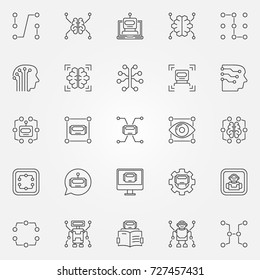 Machine learning icons set. Vector artificial intelligence and other technology concept symbols or design elements in thin line style