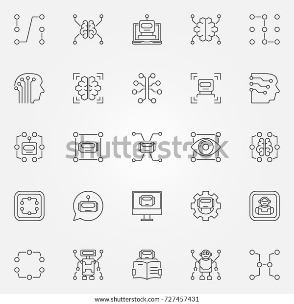 Machine Learning Icons Set Vector Artificial Stock Vector Royalty