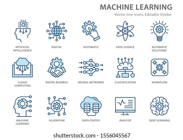 Machine learning icons, such as artificial intelligence, digital business, automated system and more. Editable stroke.