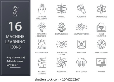 Machine learning line icons. Set of artificial intelligence, digital business, automated system and more. Editable stroke.
