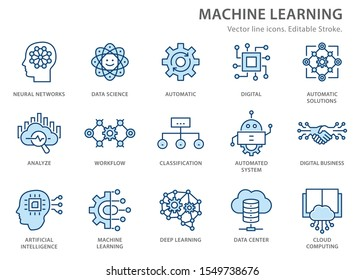 Machine learning line icons, such as artificial intelligence, digital business, automated system and more. Editable stroke.