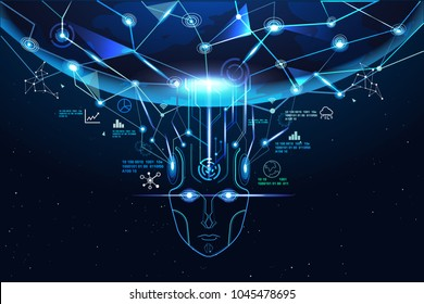 Machine learning network concept. illustration showing AI, Artificial Intelligence connect the brain to big data network in the world, deep learning, robot face.