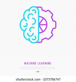 Machine learning thin line icon: half brain and half wheel. Modern vector illustration.