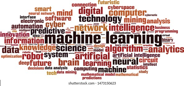 Machine learning word cloud concept. Collage made of words about machine learning. Vector illustration