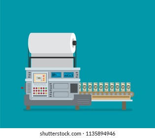 The machine makes dollar bills. The financial system, the Bank prints money. The cash machine. Flat vector.