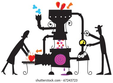 A machine for mending broken hearts vector silhouette illustration