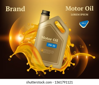 Machine oil. Engine diesel filter golden yellow drops and splashes vector advertizing placard realistic background