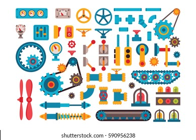 Machine parts gears different mechanism vector illustration. Robotic auto construction elements construction. Technical gears, pinion, adapter, shaft, joints