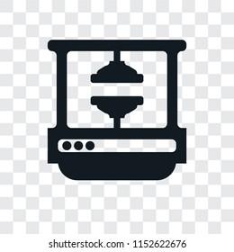 Machine press vector icon isolated on transparent background, Machine press logo concept