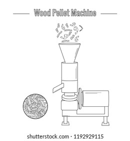 Machine for the production of wood pellets used for processing (pressing) wood waste for the production of boiler fuel. Black and white vector illustration. The icon.