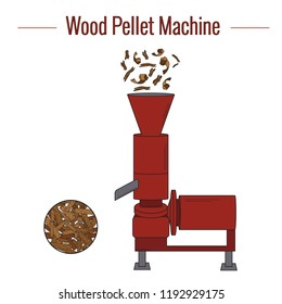 Machine for the production of wood pellets used for processing (pressing) wood waste for the production of boiler fuel. Colored vector illustration. The icon.