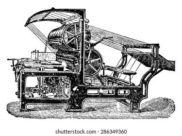 Machine set or setter, vintage engraved illustration. Industrial encyclopedia E.-O. Lami - 1875.