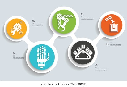Machine and Technical on buttons, info graphic design,clean vector