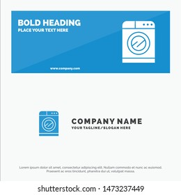 Machine, Technology, Washing, Washing SOlid Icon Website Banner and Business Logo Template
