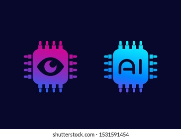 Machine vision and AI chipset icons