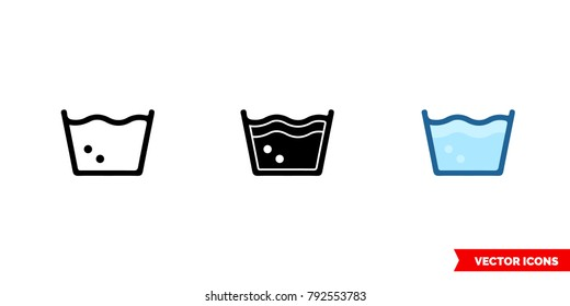 Machine wash icon of 3 types: color, black and white, outline. Isolated vector sign symbol.