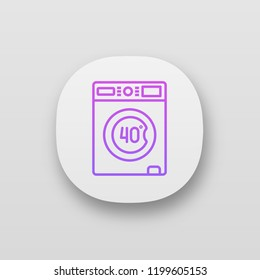 Machine washable at 40 degree app icon. Machine wash. Gentle cycle. Washing at forty Celsius degree. Washable mattress cover. UI/UX interface. Web or mobile application. Vector isolated illustration